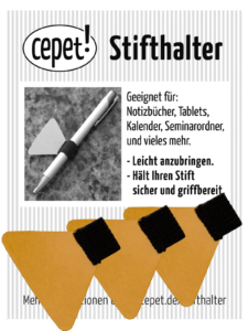 3 Stück Stifthalter / Stiftschlaufe schwarz von cepet