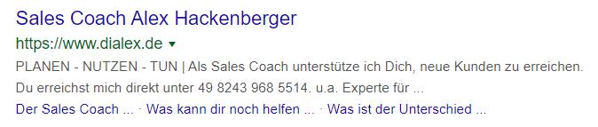 Google Search Snippet für Sales Coach Alex - verweis auf dialex.de